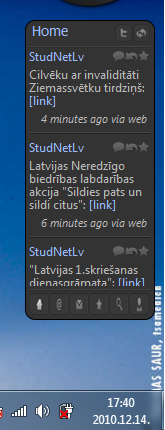 TweetZ sidebar priekš windows 7/ Vista